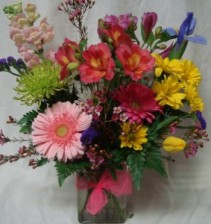 "'SMILES AND SUNSHINE"" Bright mixed flowers  arranged in a cute vase!"
