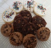 Dozen mixed cookies turtle brownie pecan,  iced sugar, and chocolate chunk. NEED 30 HOUR NOTICE FOR DELIVERY.R