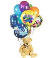 Bear holding Mylar birthday balloons and latex balloons! Baby mylars, etc. We will look at the enclosure card to know what balloons you would like.