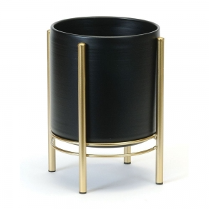 Modern Black and Gold  shorter planter