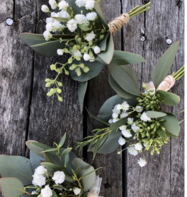 Modern Boutonnière  Fresh Eucalyptus and Baby's Breath
