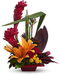 Modern Burgundy Art Flower Arrangement