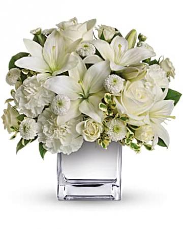 Modern Cube In White Flower Arrangement