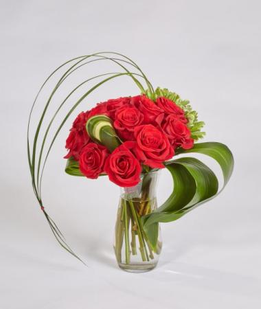 Modern Dozen  Rose Bouquet