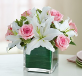 Modern Embrace Pink Rose & Lily Cube Arrangement