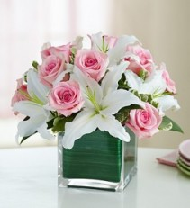 Modern Embrace Pink Rose & Lily Cube Bouquet