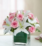 Modern Embrace  Pink Roses an Lily Cube