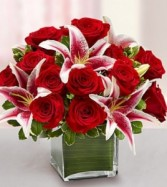 Modern Embrace Red Rose and Lily Cube **LIMITED TIME OFFER**