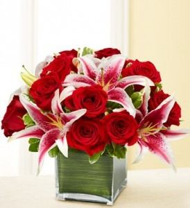 Modern Embrace Red Roses and Lily Cube
