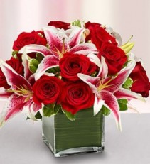 Modern Embrace Roses and Stargazer Lilies