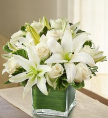 Modern Embrace White Rose and Lily Cube