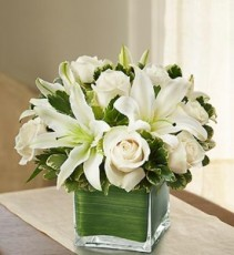 Modern Embrace White Rose and Lily Cube Bouquet