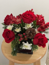 Modern Holiday Centerpiece Low square vase