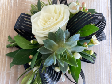 Modern Rose & Succulent with Bow Corsage