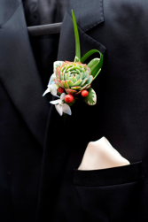 Modern Succulent  Prom Boutonniere