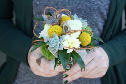 Modern Succulents & Billy Balls Handheld Bouquet
