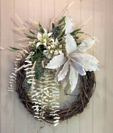 Modern White Wreath Powell Florist Exclusive