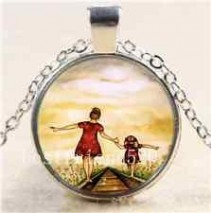 Mom and Child #37 18 inch silver plated necklace