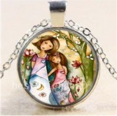 Mom and Me #40 18 inch silver plated necklace