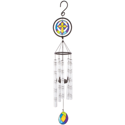 "Angel's Arms 35"" STAINED GLASS WIND CHIME ON  STAND WITH BOW"