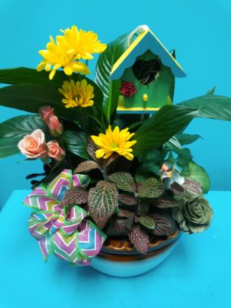 Mom's Birdhouse Dish Garden of Plants
