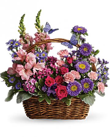 Beautiful Country Blooms Basket Arrangement