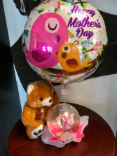 Mom's Day Rose Globe, Bear and Balloon