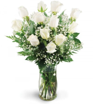 Mom's Dozen White Roses Only at Mom & Pop Flower Shop in Oxnard, CA | Mom and Pop Flower Shop