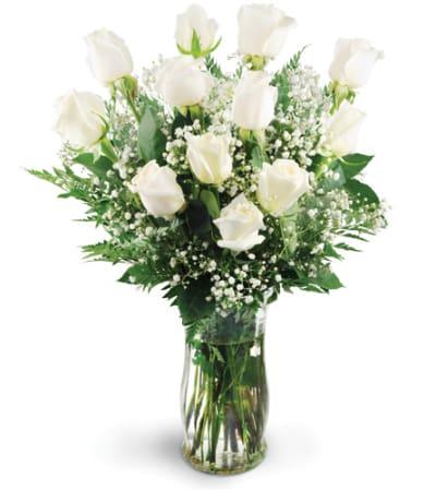 Mom's Dozen White Roses Only at Mom & Pop Flower Shop