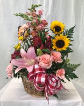 Mom's Garden Basket Fresh Cut Flowers in Vine Basket with Bow