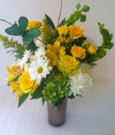 Mom's Heart of Gold Floral Arrangement