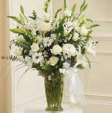 Mom's Large White Sympathy Vase Arrangement in Ventura, CA | Mom And Pop Flower Shop
