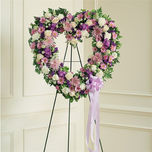 Mom's Lavender & White Open Heart For More Information Call: (805)653-6929 in Ventura, CA | Mom And Pop Flower Shop