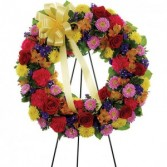 Mom's Multi-color  Standing Sympathy Wreath