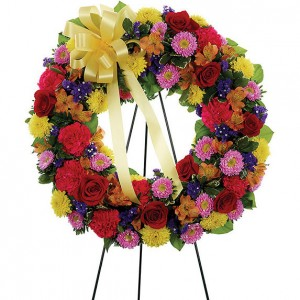 Mom's Multi-color  Standing Sympathy Wreath in Ventura, CA | Mom And Pop Flower Shop