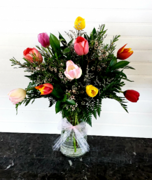 MOM'S MULTI COLORED TULIPS Exclusively at Mom & Pops in Oxnard, CA | Mom and Pop Flower Shop