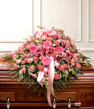 Mom's Pink Mixed Half Casket Exclusively at Mom & Pops in Ventura, CA | Mom And Pop Flower Shop