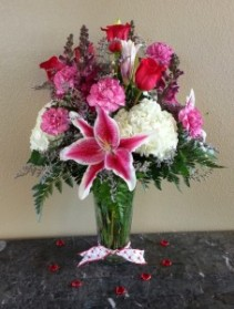 Mom's Red Roses and Stargazer Lilies  Exclusively at Mom & Pops