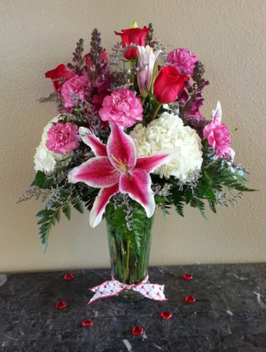 Mom's Red Roses and Stargazer Lilies  Exclusively at Mom & Pops in Oxnard, CA | Mom and Pop Flower Shop