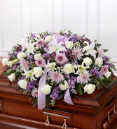 Mom's White & Lavender Half Casket Exclusively at Mom & Pops
