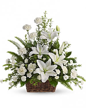 MOM'S WHITE LILIES BASKET Exclusively at Mom & Pops in Oxnard, CA | Mom and Pop Flower Shop