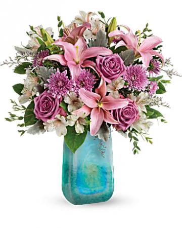 Monet Inspired Art Glass Vase Bouquet Vased Arrangements  sc 1 st  LaPorta\u0027s Flowers \u0026 Gifts & Monet Inspired Art Glass Vase Bouquet Vased Arrangements in ...