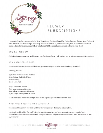 Monthly Flower Delivery!! Options Available