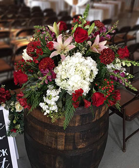 Moody Maroons Centerpiece in Port Stanley, ON | Flowers By Rosita