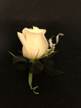 Moody Midnight Single White Rose Boutonniere