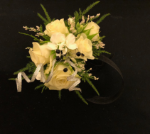 Moody Midnight White Spray Rose Wrist Corsage