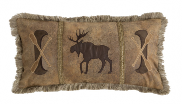 Moose & Canoe  Faux Leather Throw Pillow