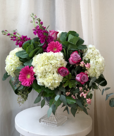 Morning Magenta  Pedastal Vase Arrangement