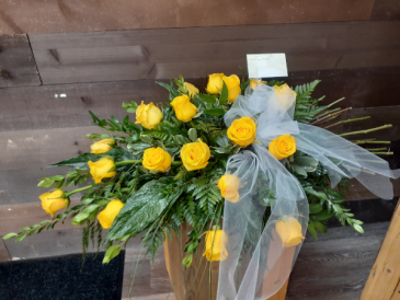 Morning Sunrise  18 Yellow Roses ...Casket Spray