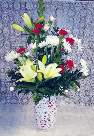 Mosaic Glass Vase Floral Design
